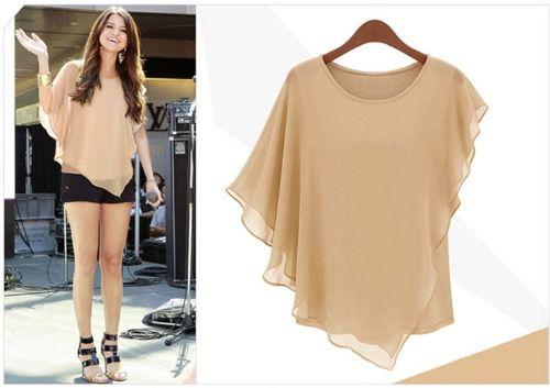 New Trendy Women Chiffon Tops Ruffled Batwing Sleeve Asymmetric T Shirt Khaki