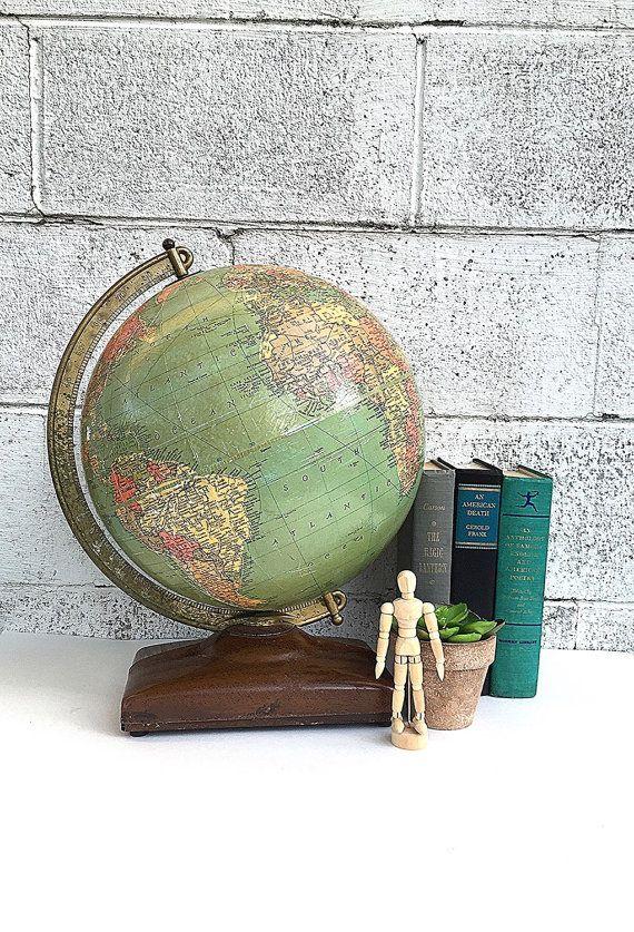 World GLOBE | Vintage Replogle 12-inch Diameter Precision Globe | Mid-Century Desk Globe | 1940's Globe | USSR | Cold War