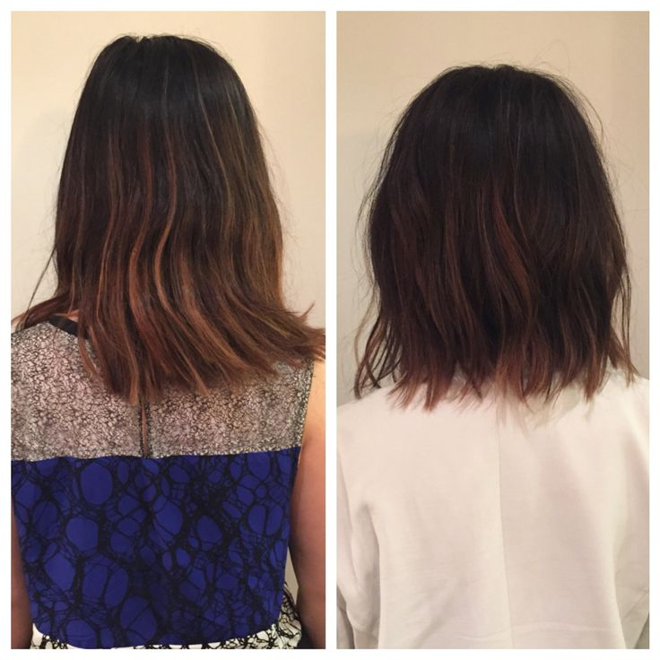 Before and after. Razor Bob. Texture. Bob. Lob. Lived in hair. Bumble and bumble