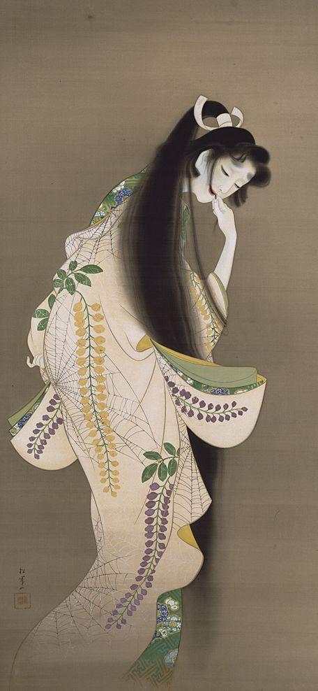"""Flame."" by Uemura Syoen (Japanese 1875-1949) Color painting on silk, H. 190.9 x W. 91.8 cm, (dated 1918) | Tokyo National Museum, Japan |《焔 ほのお》上村松園 (1875-1949 明治8年- 昭和24年) 1 幅, 絹本着色, 縦190.9 x 横91.8 cm 大正7年(1918) | 東京国立博物館 コレクション"