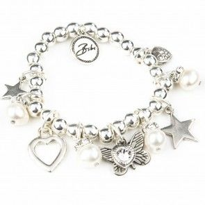 Bibi Bijoux pearl and butterfly charm bracelet