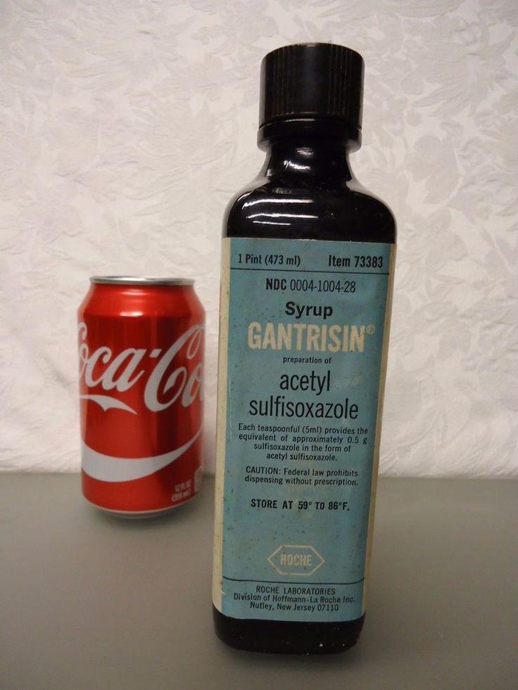Roche Gantrisin Chocolate flavored Syrup Empty medicine Bottle