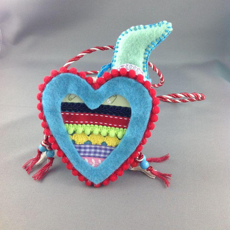 Childs heart bag - blue by LibbyArtCottage on Etsy