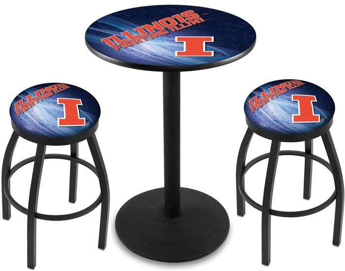Illinois Fighting Illini D2 Black Pub Table Set. Available in two table widths. Visit SportsFansPlus.com for Details.
