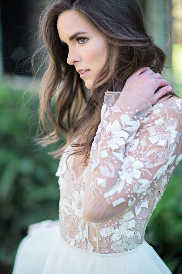 lace wedding dress - photo by Kristen Weaver Photography http://ruffledblog.com/rock-quarry-inspired-wedding-ideas