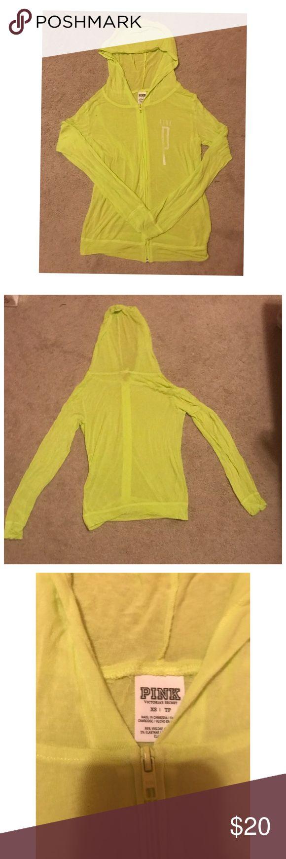 Neon green PINK zip up sweatshirt 💚 Size: XS Neon green zip up sweatshirt from PINK PINK Victoria's Secret Tops Sweatshirts & Hoodies