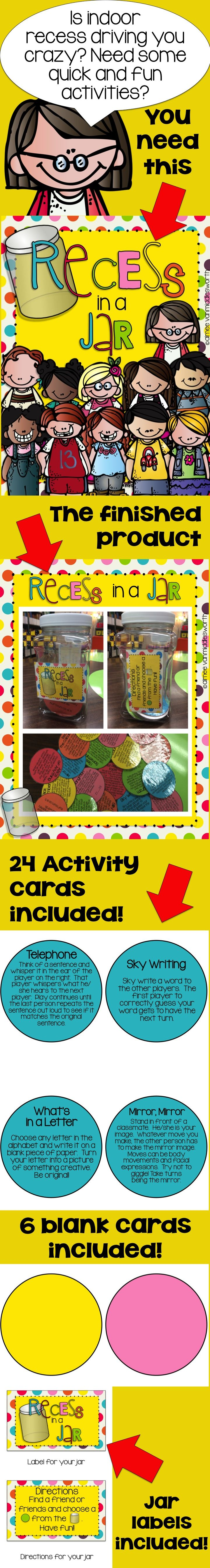 "Need ideas for indoor recess?  You need a ""Recess in a Jar"" to keep students busy all winter long!"
