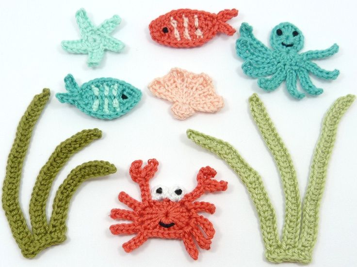 8 Crochet appliques under water scene. by MyfanwysAppliques