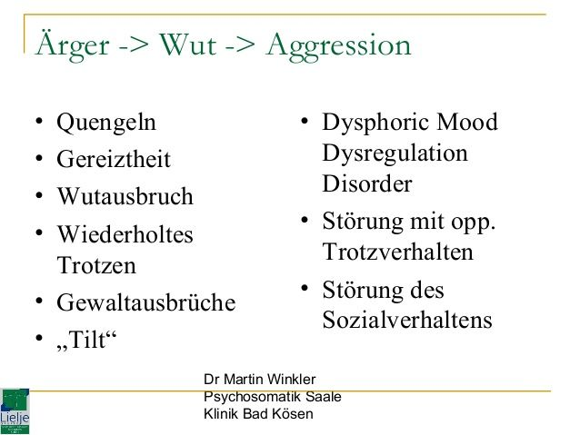 "Ärger -> Wut -> Aggression • • • •  Quengeln Gereiztheit Wutausbruch Wiederholtes Trotzen • Gewaltausbrüche • ""Tilt""  • Dy..."