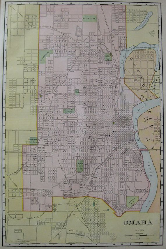 Antique OMAHA Map 1906 Vintage Map RARE