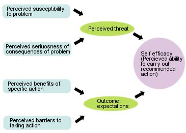 The health belief model (Rosenstock) is concerned  with what people perceive or believe to be true about them-selves in relation to their health. This model is based on three  components of individual perceptions of threat of a disease:  (1) perceived susceptibility to a disease, (2) perceived seriousness of a disease, and (3) perceived benefits of action.