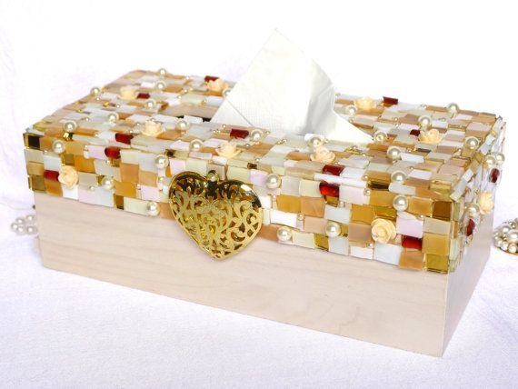 Decorative box Jewelry covered ivory gold Mosaic Art by LonasART