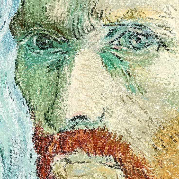 Van Gogh portrait with 4 point type. Close up.