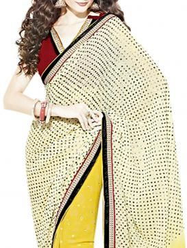 Yellow and Offwhite faux Georgette Saree designed with thin patti Border and tikkidana and booti all over.Patti Border Work will make you look all the more glamorous and Stylist.