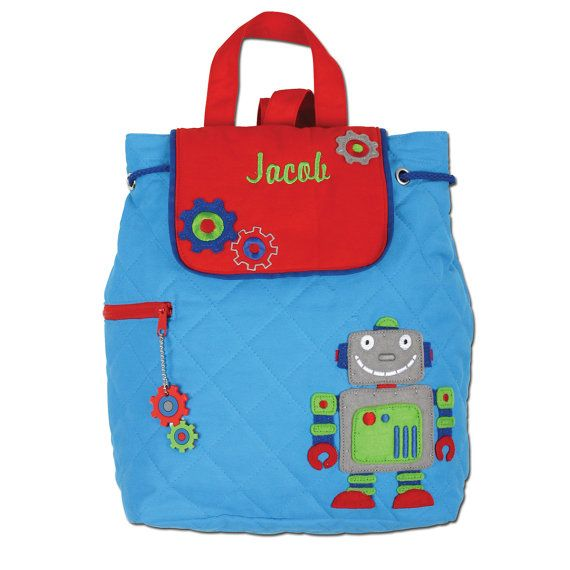 """Stephen Joseph Robot Backpack SJ-1001-82 •Fully Lined Backpack with Magnetic Snap Closure •100% Cotton •Machine Washable •Fun Coordinating Zipper Pull •Perfect for Monogramming •Approx. 13"""" by 13.5""""  FREE PERSONALIZATION WITH EVERY ORDER!!!"""