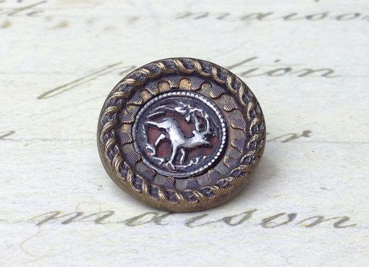 Medium Antique Deer Picture Button Ornate border 17 mm by GwensButtons on Etsy https://www.etsy.com/ca/listing/490446606/medium-antique-deer-picture-button