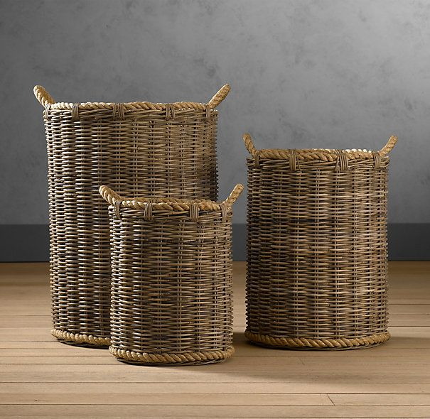 """Handwoven Rattan Baskets - Medium size 18""""dia. x 24""""H - for one corner in your living room for some throw blankets"""