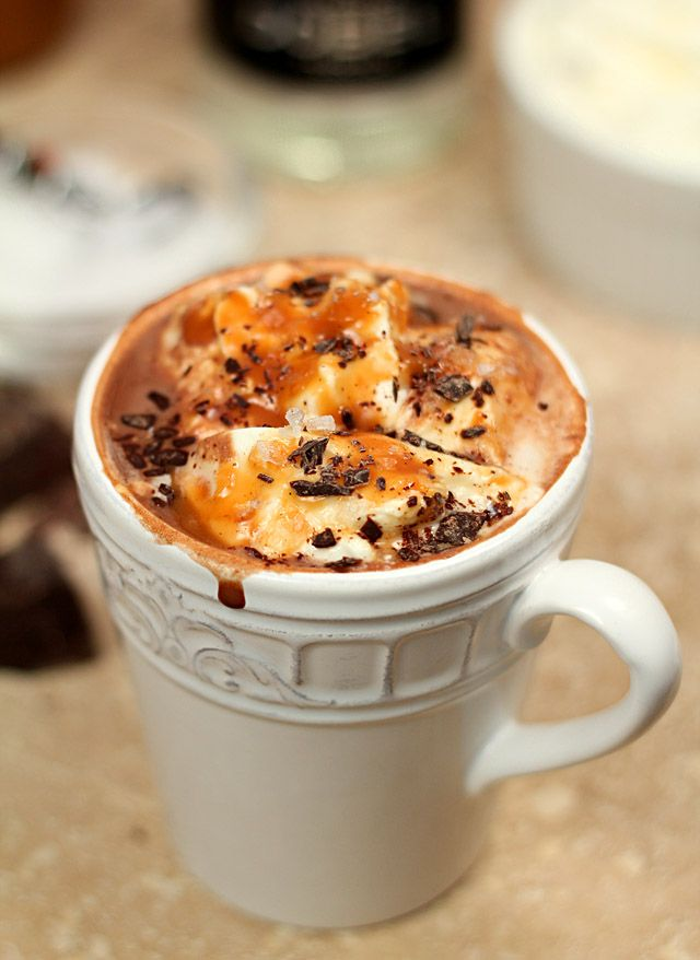 Salted Caramel Hot Chocolate with Tequila Recipe ~ A decadent blend of rich hot chocolate and caramel served with tequila, whipped cream and a touch of salt.