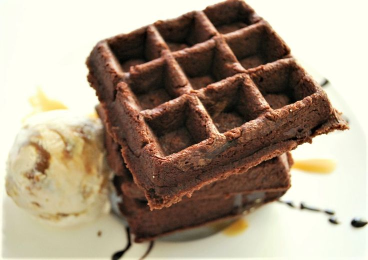 Too hot to make dessert?  Don't let the heat stop you from enjoying a yummy Summer treat! Gluten free Brownie Waffles in the waffle iron! No need to heat up the house.  Made with Pamela's Brownie Mix. http://www.pamelasproducts.com/brownie-waffles/