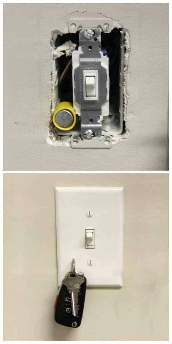Accroche clés avec un aimant caché dans l'interrupteur. 19 Utilisations des aimants que vous ne soupçonniez pas