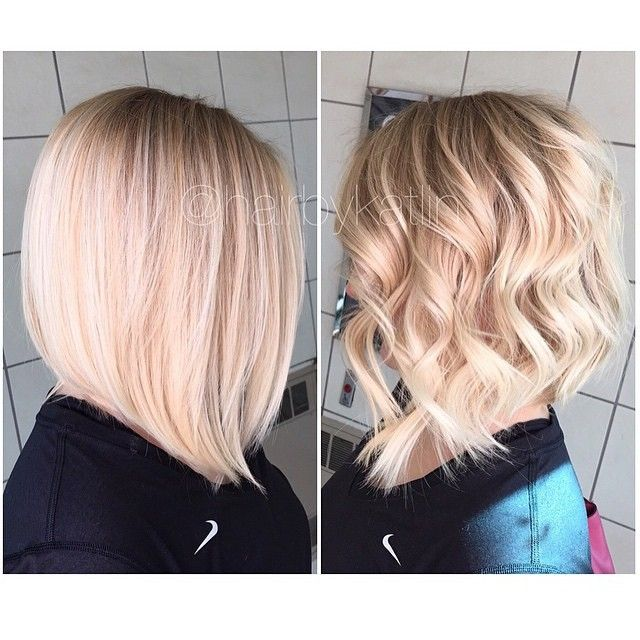 Angled Bob Hairstyles bob hairstyles that look great Long Angled Bob Styled Both Ways Hair By Hairbykatlin Hair Hairenvy Hairstyles I Love Pinterest Bob Styles And Bobs