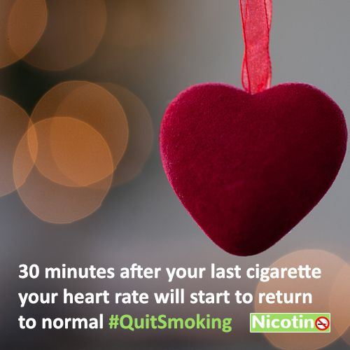30 minutes after your last cigarette your heart rate will start to return to normal. #QuitSmoking http://nicotino.com/quit-smoking-timeline/