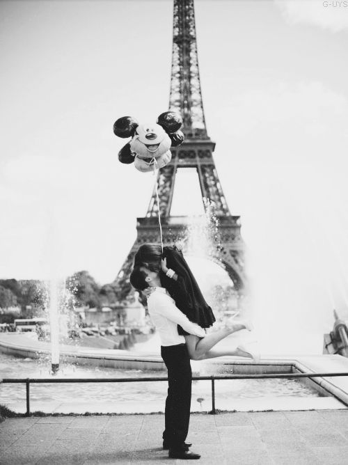 Love Photography Relationship Couple Girlfriend Boyfriend Disney Fashion Heels White Summer Sky Gorgeous Model Mickey Mouse Boy Blue Clouds Eiffel Tower