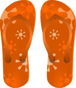 PublicDomainVectors.org-Naranja ojotas dibujo vectorial. Color de sandalias hawaianas imágenes prediseñadas.