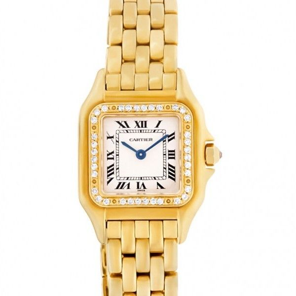 Pre-owned Cartier Panthere 18K Yellow Gold Womens Watch ($11,990) ❤ liked on Polyvore featuring jewelry, watches, cartier watches, pre owned watches, 18 karat gold jewelry, yellow gold watches and gold jewellery