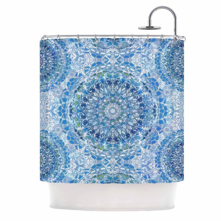 "Nina May ""Blue Lace Mandalas"" Blue Green Mixed Media Shower Curtain from KESS InHouse"