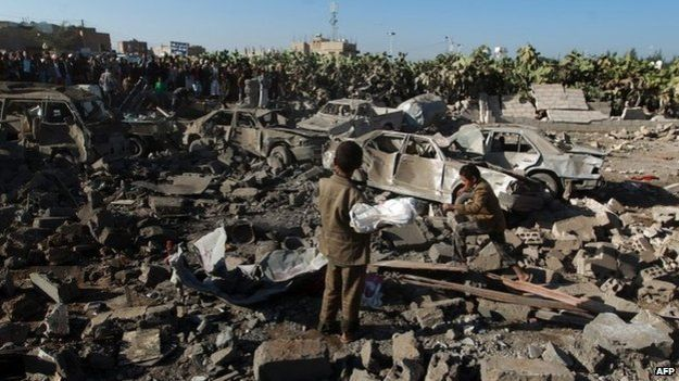 Aftermath of Saudi-led coalition air strikes in Sanaa (26 March 2015)
