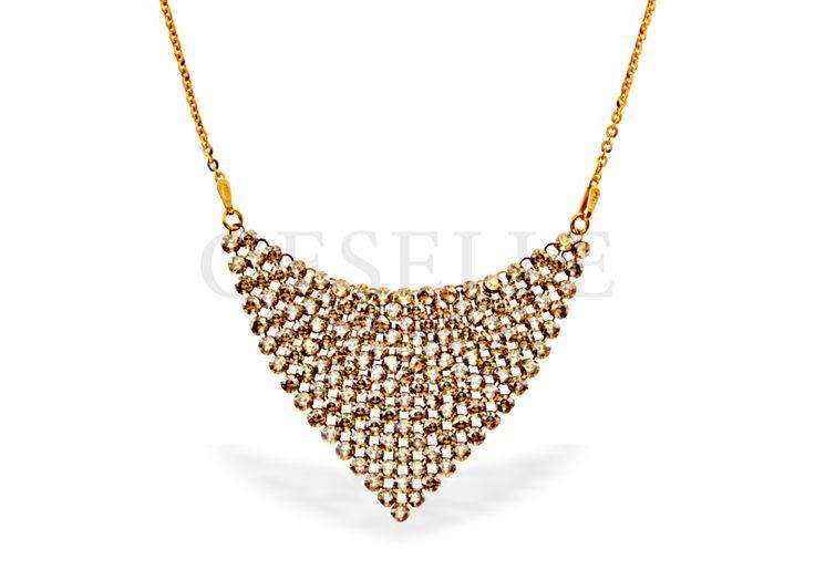 Nieprzeciętny naszyjnik z kryształów SWAROVSKI ELEMENTS w kolorze złotym | SREBRO \ Naszyjniki od GESELLE Jubiler