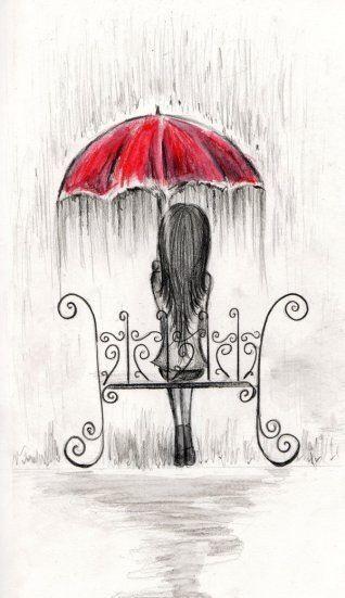 Roter Umbella im Regen, lockiger Sitz aus Schmiede…