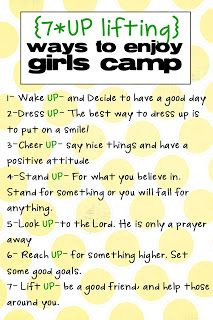This could be good for people to post in girls cabins! Esp with the older campers...heck, even helpful for the counselors!