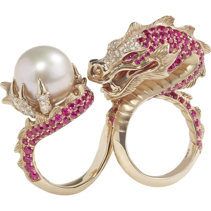 Stephen Webster, Couture Voyage collection, China Girl Dragon Ring, 18k rose gold, south sea pink pearl, rubies and white diamonds
