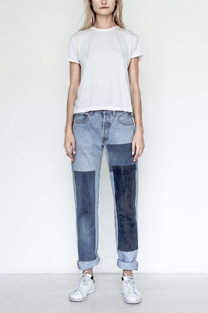 B SIDES Cotton Assorted Patchwork Denim - Vintage Denim collected from all over America and reworked in New York City - Each pair of B SIDES is reworked individually and therefore each pair is unique