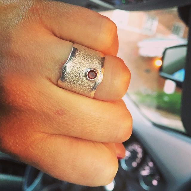 Red garnet silver ring - wide silver ring - contemporary silver ring for woman January birthstone silver ring handmade in Greece