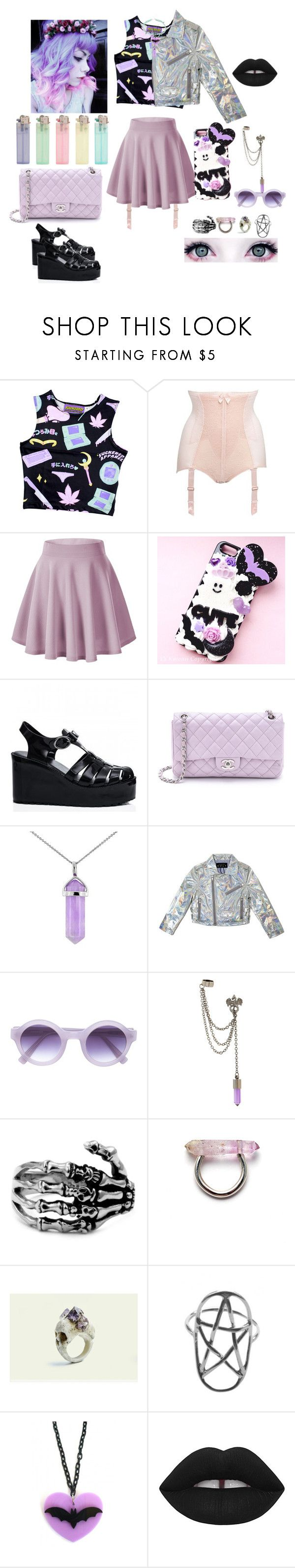 """""""Evevated~ State Champs"""" by headbangingunicorn ❤ liked on Polyvore featuring Gossard, Samsung, Chanel, Lord & Taylor, Derek Lam, Macabre Gadgets and Lime Crime"""