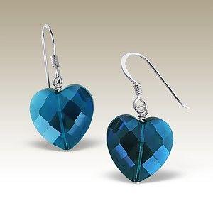 Blue Heart Silver Earring A$15