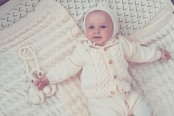 ROBIN  KNIT KIT for vintage style inspired baby knit set of cardigan and dungarees with braid pattern