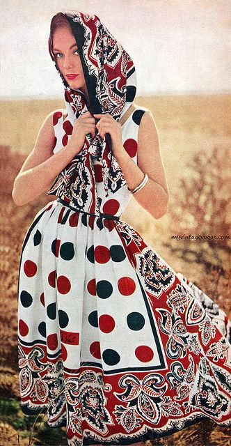 Phot by George Barkentin for mademoiselle (1958) - such an awesome, boldly patterned dress and headscarf. #vintage #1950s #fashion