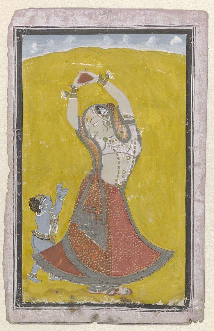 Anonymous | Yasoda en Krishna, Anonymous, c. 1820 | Tegen een felgele achtergrond staat Yasoda met opgeheven armen en de handen ineengestrengeld rond een voorwerp waarnaar de kleine Krishna zich reikhalzend uitstrekt met opgeheven armpjes. De voorstelling is afgebiesd met een brede zwarte kaderrand en dunne kaderlijnen op eens witgeschilderd papier.
