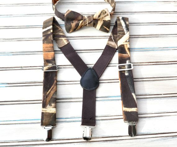 Bowtie and Suspender set made of Realtree Max 4 6 oz cotton/Poly twill  I handmake this item and they are ready to ship in 1 day. These sets are