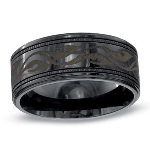 silver engraved black titanium wedding band for men