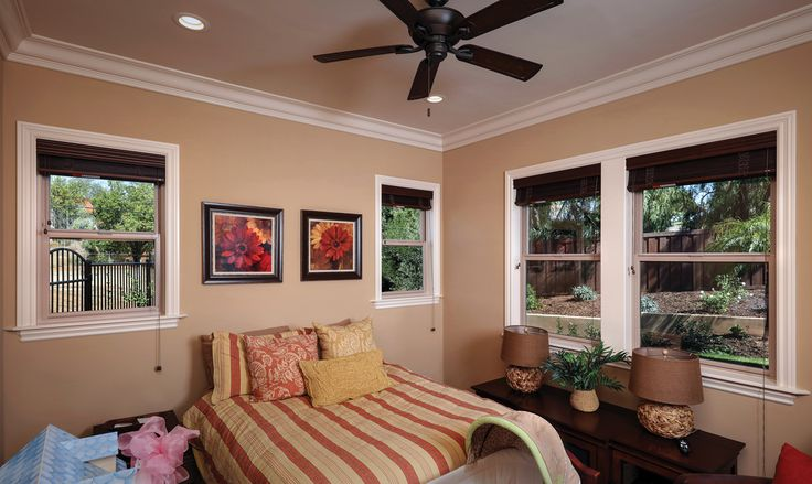 Tuscany Series with multiple single hung windows in tan - Tuscany® Series Vinyl Windows