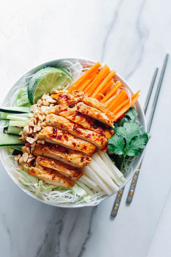 Sweet chili glazed chicken rice noodle bowls