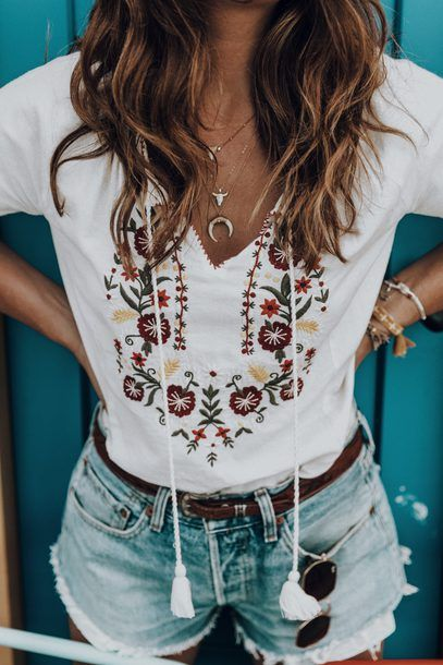 $130 The Perfect Summer Blouse Bright White V-Neck Tie Detail Linen Long Sleeved Blouse With Multicoloured Floral Flower Embroidered Detail Teamed With Cute Gold Accessories Tumblr