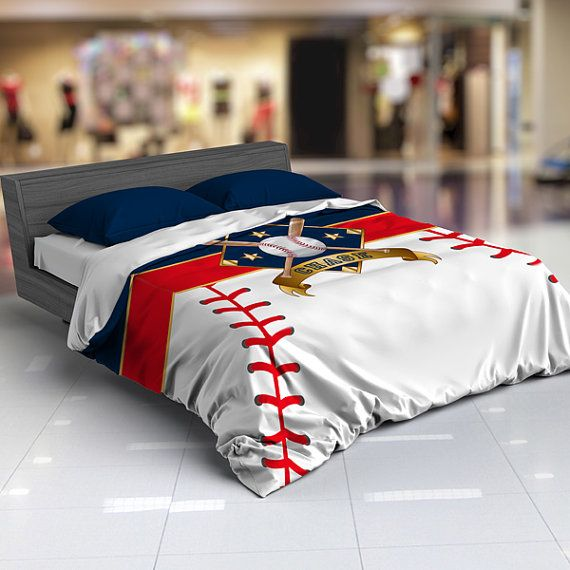 Personalized Baseball Bedding Duvet Comforter Red White Blue King Twin Queen Toddler Nursery