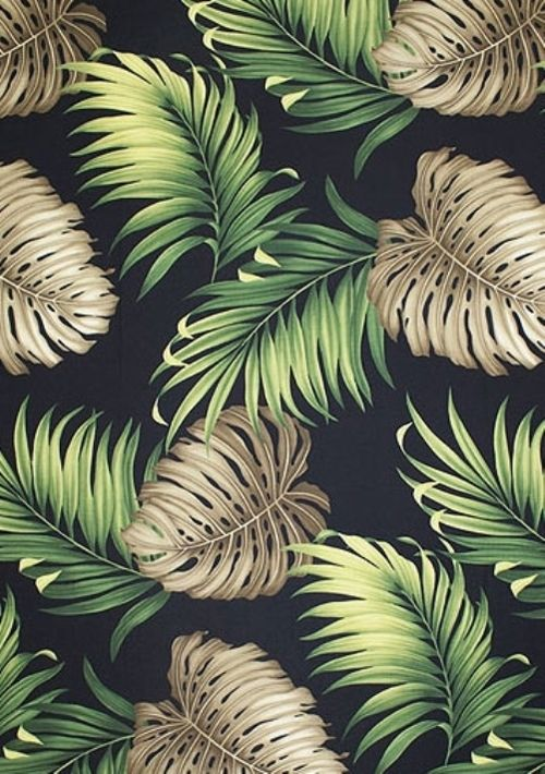 "Graphic design (""Monstera Black"", photography by barkclothhawaii [source], via thevuas)"