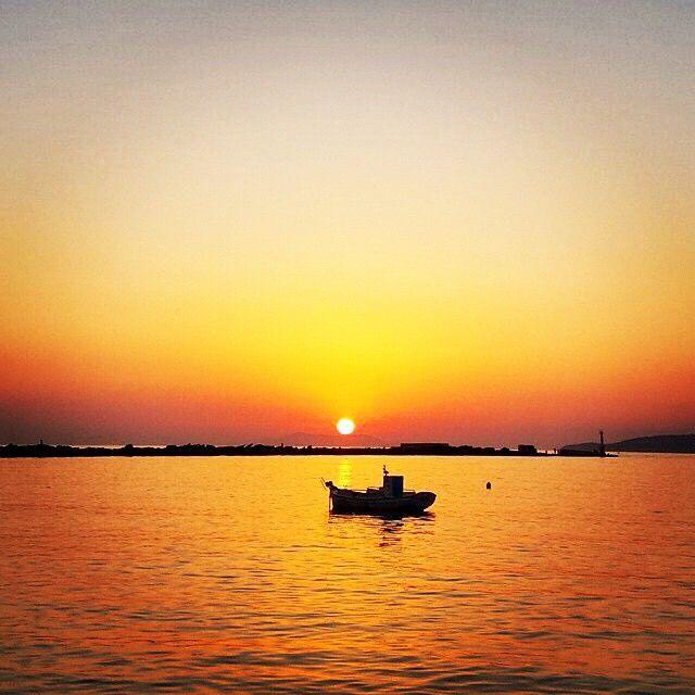 Amazing sunset in Tinos island (Τήνος) .